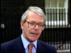Grand National cancelled IRA bomb threats ENGLAND London Downing Street EXT LMS PM John Major towards ZOOM IN MS press CMS Major pkf cynical IRA /...