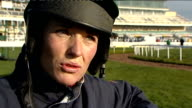 Grand National preview women jockeys Katie Walsh interview SOT 'Aintree Racecourse' sign Horse ridden along Aintree training track Katie Walsh...