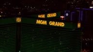 Grand neon signs on The MGM Grand Las Vegas hotel casino building ZO to XWS FLYING MGM Grand building on Las Vegas Boulevard AKA The Strip