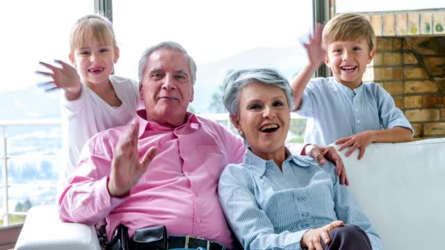 Grandchildren visiting their grandparents