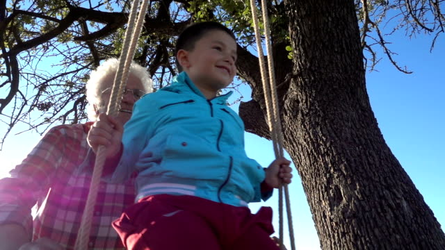Grandfather pushes happy grandson on swing