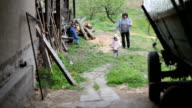 Grandmother and toddler enjoying on a farm