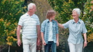 SLO MO Grandparents and grandson enjoying their walk in the park