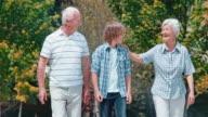 SLO MO grootouders en kleinzoon genieten van hun wandeling in het park