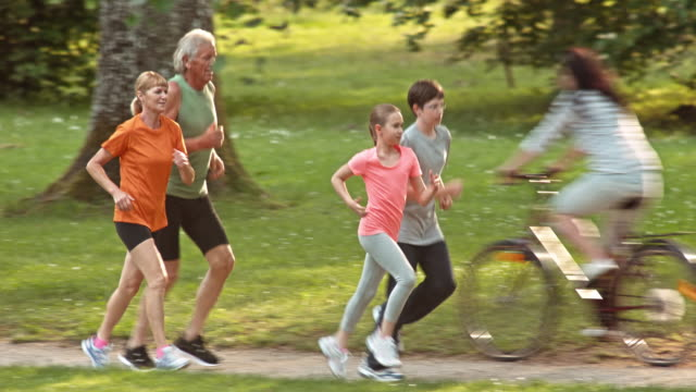 TS Grandparents jogging with grandchildren through a sunny park