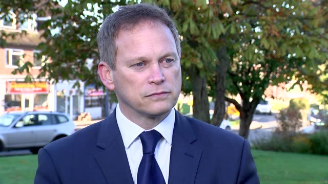 London EXT Grant Shapps MP interview SOT re Theresa May's performance / resignation Shapps walking towards camera