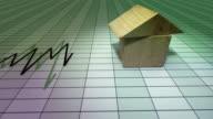 Diagramm der Immobilienmarkt mit icon-house