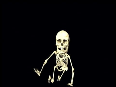 Graphic depicting skeleton of human baby crawling towards camera