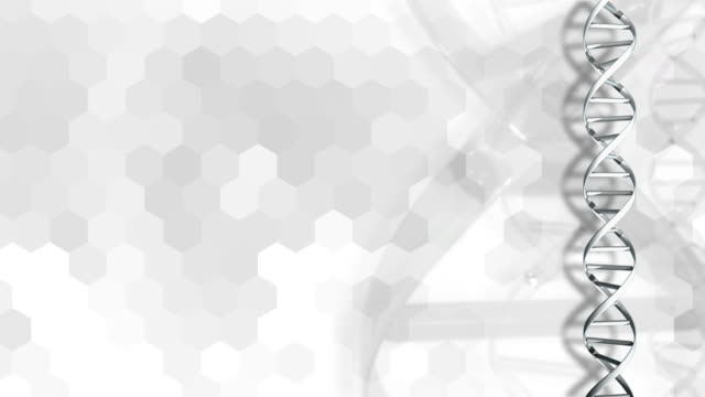 4K Graphic DNA Strand on Hexagonal White Background