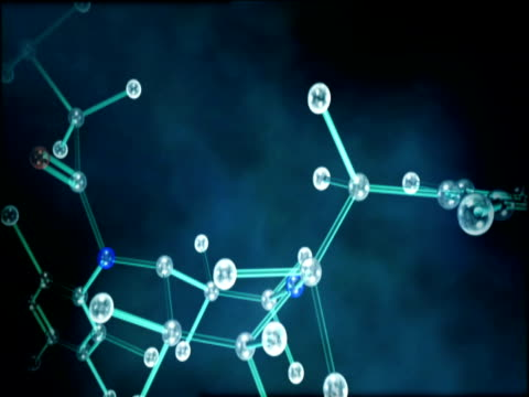 Graphics of revolving molecular structure demonstrating chemical fusion