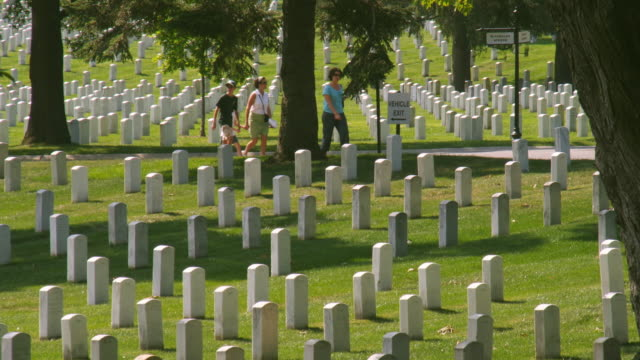 MS Gravestones at Arlington National Cemetery, Section 33, people walking in background, Arlington, Virginia, USA