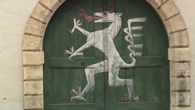 Graz - Door with Styrian Panther Arkedenhof Landhaus Hof in Graz