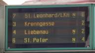 Graz - Tram Destination board in Graz