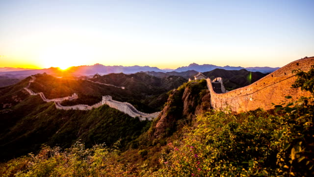 great wall with sunset,time lapse