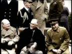 Greatest Headlines of the Century / NO AUDIO / Stalin Dies in Moscow in March 1953 / Stalin sitting with Churchill and FDR / Russian army soldiers...
