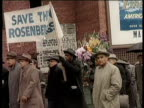 Greatest Headlines of the Century / Rosenbergs Executed / Demonstrators marching in a circle to save Julius and Ethel Rosenberg from execution /...