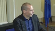Greece's new Finance Minister Yanis Varoufakis and his German counterpart Wolfgang Schaeuble hold a joint press conference following their meeting on...