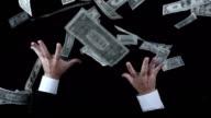 Avidi Uomo d'affari guardando i soldi (Super rallentatore)