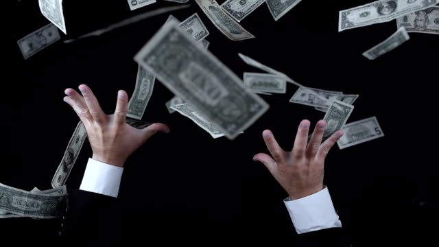 Greedy Businessman Catching Money (Super Slow Motion)