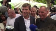 Greek exMinister of Finance Yanis Varoufakis and French exminister of Economy Arnaud Montebourg discuss antiausterity measures at an event of the...