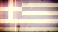 Greek Flag - Grungy Retro Old Film Loop with Audio