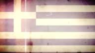 Griechische Flagge Grunge Retro alte Film-Loop mit Audio
