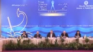 Greek Foreign Minister Nikos Kotzias speaks during the Rhodes Conference for Security and Stability in Rhodes Greece on May 22 2017 Balkan Arab and...