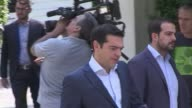 Greek political leaders arrive for talks with Prime Minister Alexis Tsipras after his resounding victory in a historic bailout referendum