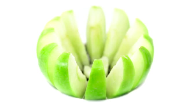 Green apple cut into slices