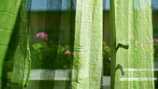 Grüne Vorhänge, hinter dem alten Fenster
