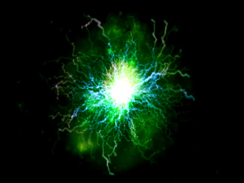 A green disc in the centre of an electrical storm, crackling against a black background.