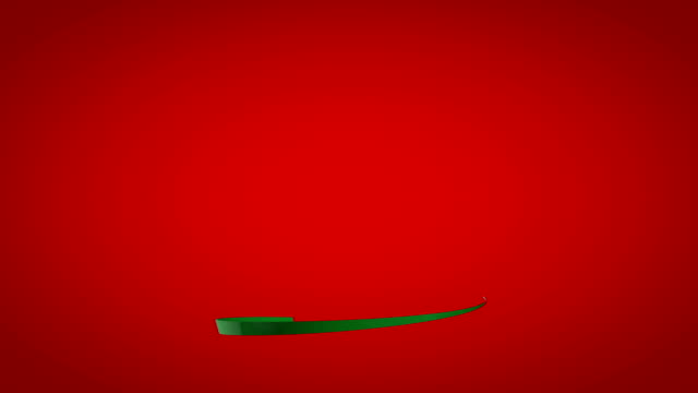 Green festive ribbon on a red background