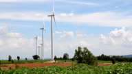 HD : green grass with Wind turbines generating electricity
