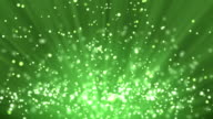 Green particle background and light rays