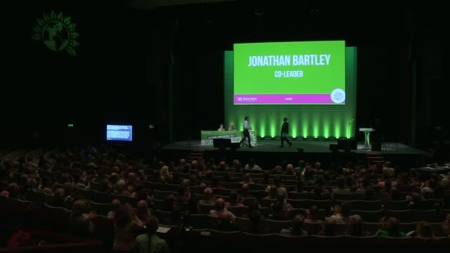 Jonathan Bartley speech ENGLAND North YorkshireL Harrogate Harrogate International Centre INT Jonathan Bartley hugs Caroline Lucas MP and along