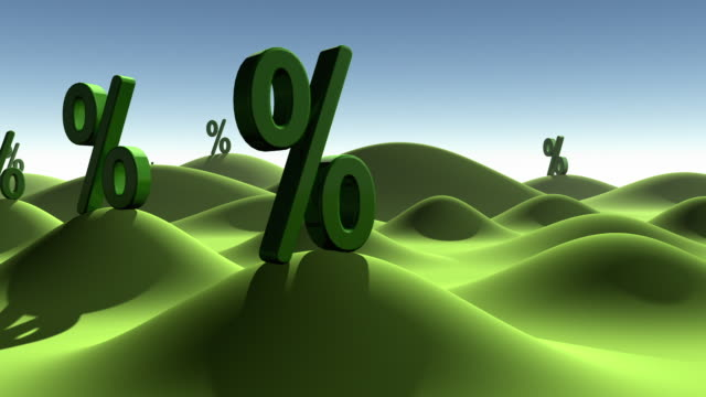 CGI Green percent signs growing out of ground