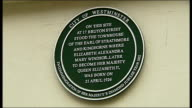 'Green Plaque' placed on house where the Queen was born ENGLAND London Westminster Bruton Street EXT Reporter to camera Plaque 'dedicated in the...