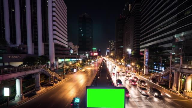 4K: groen scherm billboard's nachts