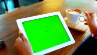 Green screen Digital tablet with Coffee