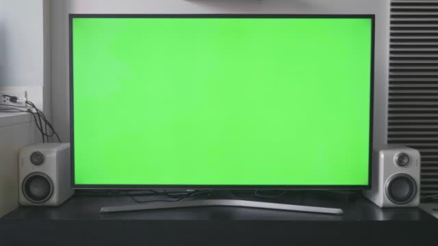 Green screen TV on living room