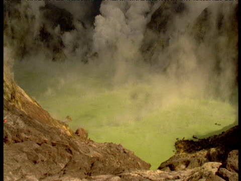 Green sulphurous smoke rises from pool, White Island, New Zealand