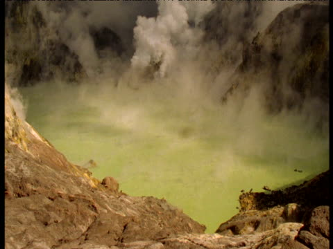 Green sulphurous steam rises from pool, White Island, New Zealand