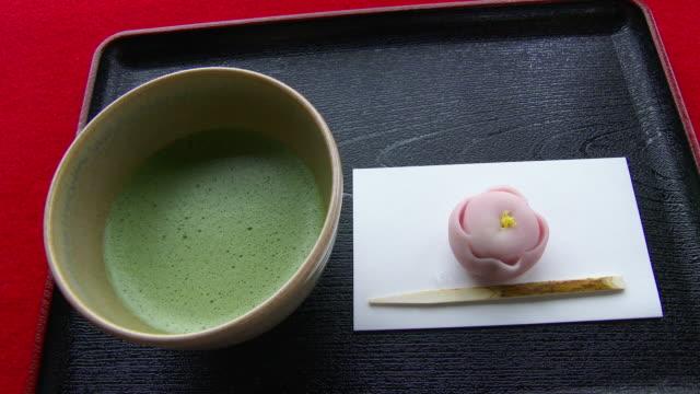 Green tea and Wagashi Pan