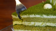 Green tea cake at coffee shop , 4k resolution , UHD