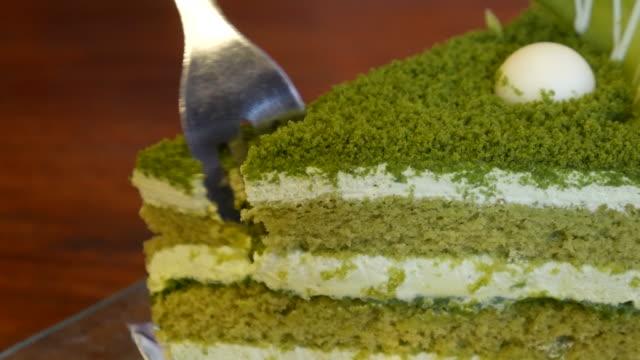 Groene thee cake bij koffie shop, resolutie van 4 k UHD