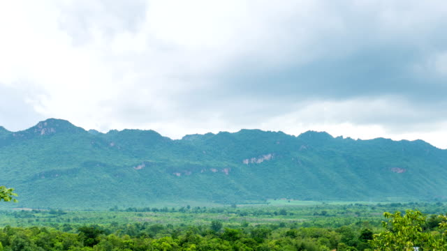 Green tropical mountain and cloudy sky, Time lapse video