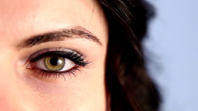 Green Woman Eye Close Up