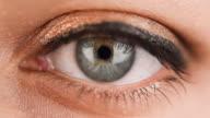 Green Woman Eye Extreme Close Up