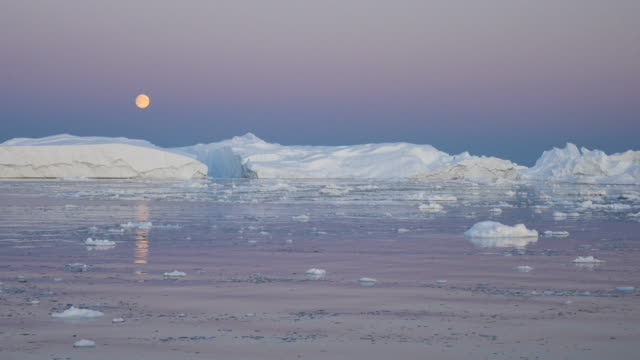 Greenland by boat, full moon panorama