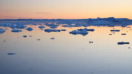 Greenland by boat, midnightsun and floating floes